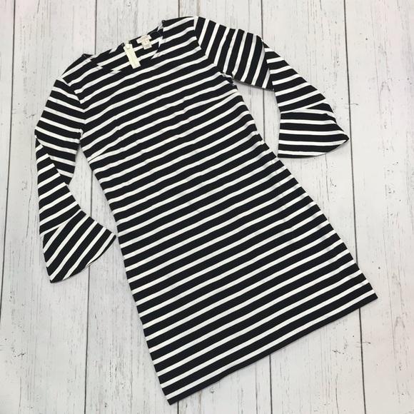 Jcrew Ruffled Bell-Sleeve Shift Dress size S black vintage champag